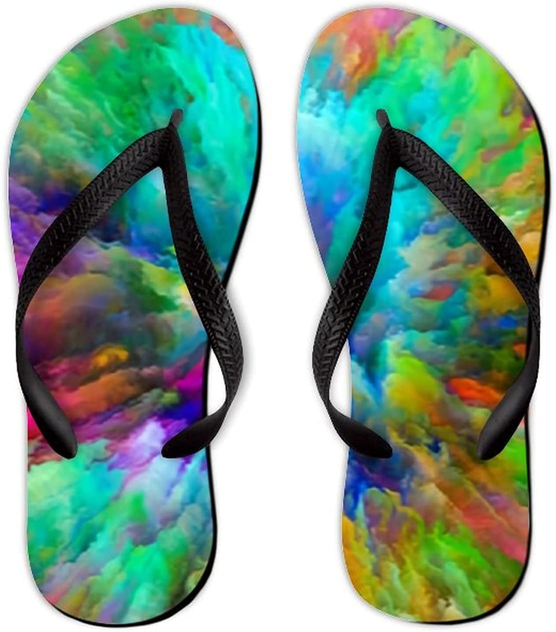 Summer Flip Flops for Men Women Color Splash Series Visually Attractive Soft Lightweight Non Slip Sandals for Shower Beach Pool Bathroom Flat 11.5