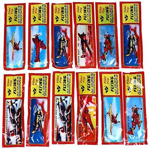 JONOTOYS 12x piepschuimvlieger van piepschuim 18 x 19 cm vliegtuigglijder speelgoed klassieker verjaardag