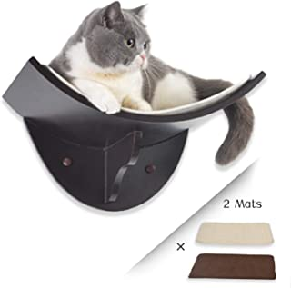 Scurrty Cat Shelf Curved Wall Mounted Cat Perch with 2 Different Mats Cat Wall Bed Modern Design Up to 35lb