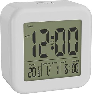 bonVIVO Digi Morning Reloj Despertador Digital con Pantalla LCD, Despertador con Pilas Que Muestra Hora, Fecha Y Temperatura, Reloj Despertador Silencioso Sin Tic TAC con Luz y Función De Repetición