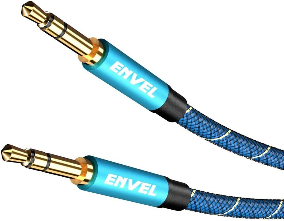 ENVEL Nylon Braided AUX Cable 3.5 mm Male to Male Stereo Audio Cable Compatible Car/Home Stereos,Speaker,Headphones,Sony Beats,Echo Dot(3.5 mm AUX, 6.6 Feet (2 Meter) Blue)