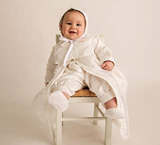 Christening Gown Burbvus B002 | Baby Boy Baptism Outfit | Handmade | 100% Silk White or Ivory