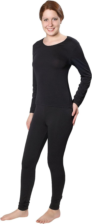 Womens Lightweight Ultra Soft Microfiber Fleece Lined Thermal Underwear Long John Set (Black Large)