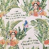 Kt KILOtela Tela de loneta Estampada Digital - Half Panamá 100% algodón - Retal de 100 cm Largo x 280 cm Ancho   Frida Kahlo y Loros. Citas célebres ─ 1 Metro