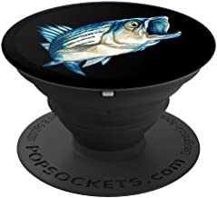 Fishing Fisherman Striped Bass Image Portrait Art Design - PopSockets Grip and Stand for Phones and Tablets