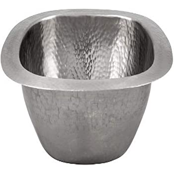 Satin Nickel The Copper Factory CF158SN Solid Hand Hammered Copper 16-Inch Diameter Large Round Bar//Prep Sink