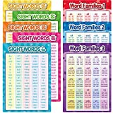 8 Pieces Learning&Education Sight Words and Word Families Posters Decoration Word Wall Charts Learning Materials for Preschool,Kindergarten,PrimarySchool,Homeschool Supplies (8)