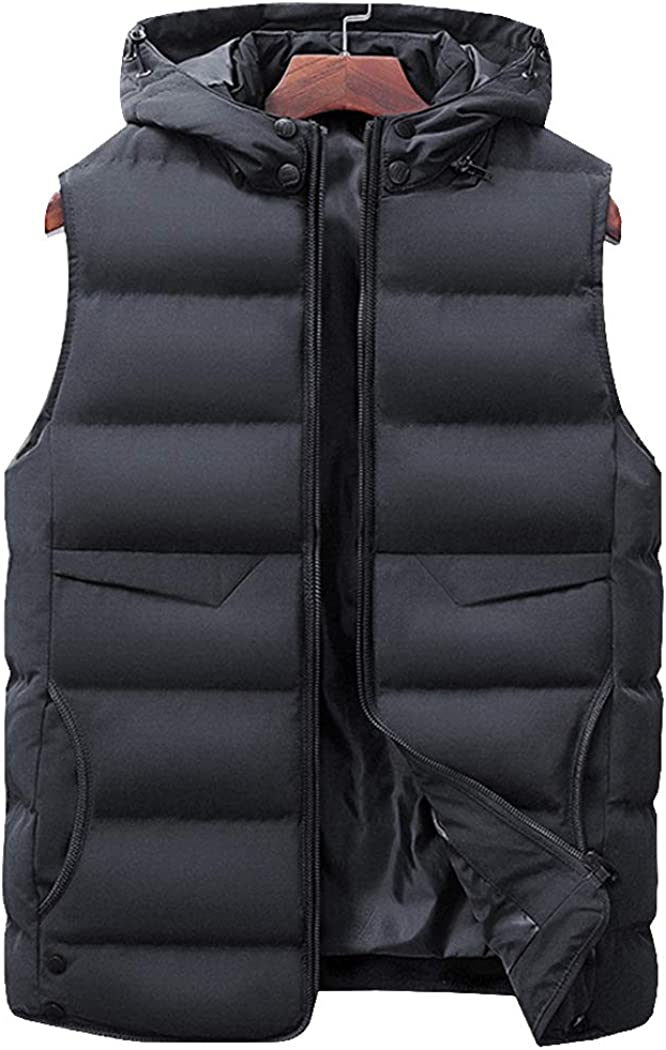 Hixiaohe Max 75% OFF Men's Winter Outdoor Down Quilted Padded mart Vest Sl Cotton