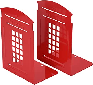 Bookends Red, MerryNine 1 Pair Heavy Metal Non Skid Sturdy Telephone Booth Decorative Gift for Bookshelf Office School Library (London-Red)