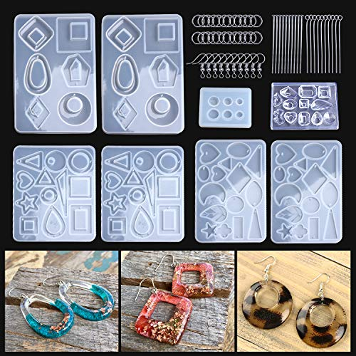 LET'S RESIN 3 Pairs Earring Resin Molds with 2pcs Stud Earring Jewelry Epoxy Resin Silicone Molds Including Earring Hooks, Jump Rings, Head/Eye Pins for Resin Jewelry, Pendant, Resin Crafts DIY