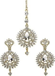 Indian Bollywood Style Jewelry Wedding Bridal HeadPiece Kundan Earrings Maang Tikka For Women