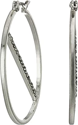 Small Pave Line Hoop Earrings
