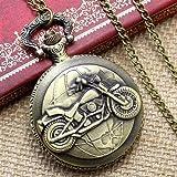 Ogquaton Vintage Bronze Motorrad Muster Taschenuhr Halskette Anhänger Männer Frauen Geschenk...