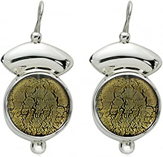 Gabriella Nanni, Orecchini in argento 925 con Vetro di Murano - Vetro Sommerso - Orecchini Tondo Monachella con Lastra