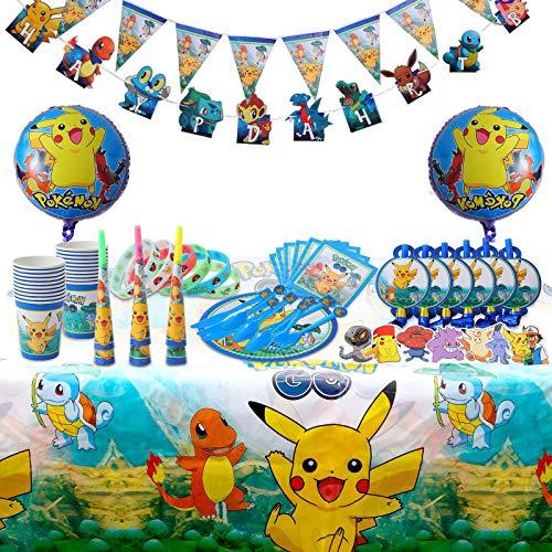 Herefun 172 Piezas Cumpleaños de Pokemon, Decoración de Fiesta de Pokemon Team, Pikachu Party Supplies Set, Artículos para Fiestas para Niños, Vajilla de Fiesta de cumpleaños con Globos Pegatina