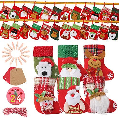 EKKONG Adventskalender zum Befüllen, 24 Adventskalender Tüten, Weihnachsstrumpf mit 24 Adventszahlen Aufkleber für Weihnachten zum Basteln und Verzieren