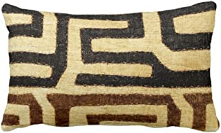 Kuba Cloth Print Throw Pillow Case Cover BeigeBrownBlack 14 x 20 Lumbar OUTDOOR or INDOOR Pillow Case Covers Covers African TribalTraditionalBoho Design