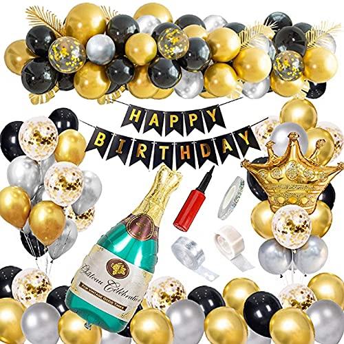 Decoración de cumpleaños para hombre, decoración para fiestas de cumpleaños, color negro y dorado