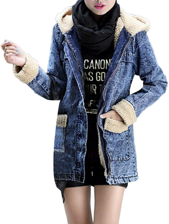 Cloudless Womens Denim Hooded Parka Coat Warm Jean Outwear with Pockets