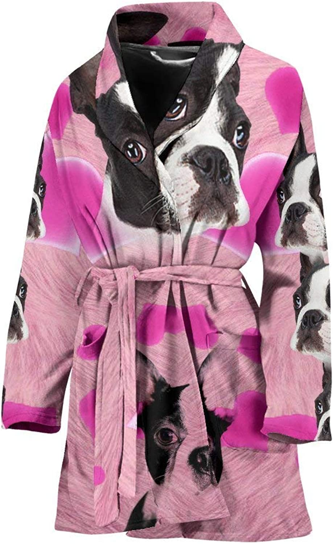 Boston Terrier On Pink Print Women's Bath Robe