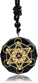 EneQutum Metatron Cube Orgonite Mixed 7 Chakras Orgone Pendant Necklace, Crystal Healing Necklace for Men and Women