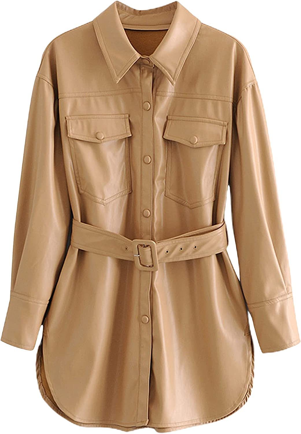 UANEO Womens Casual Faux Leather Shacket Long Sleeve Button Down Belted Shirt Jacket (Khaki-XS)