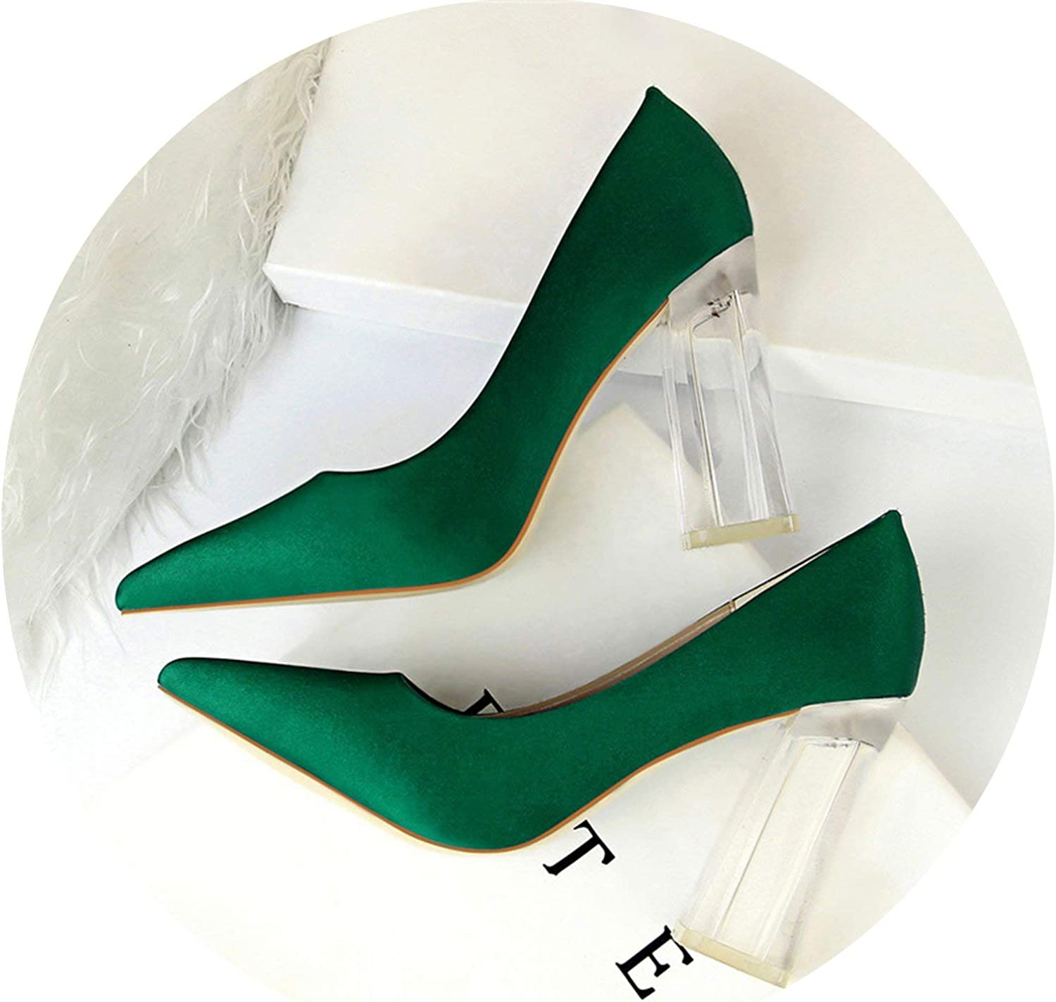 HANBINGPO New Pointed Toe Transparent Block High Heels Stain Yellow Pumps Escarpins Women Fall Spring Elegant Lady Office Party shoes,Green,7.5