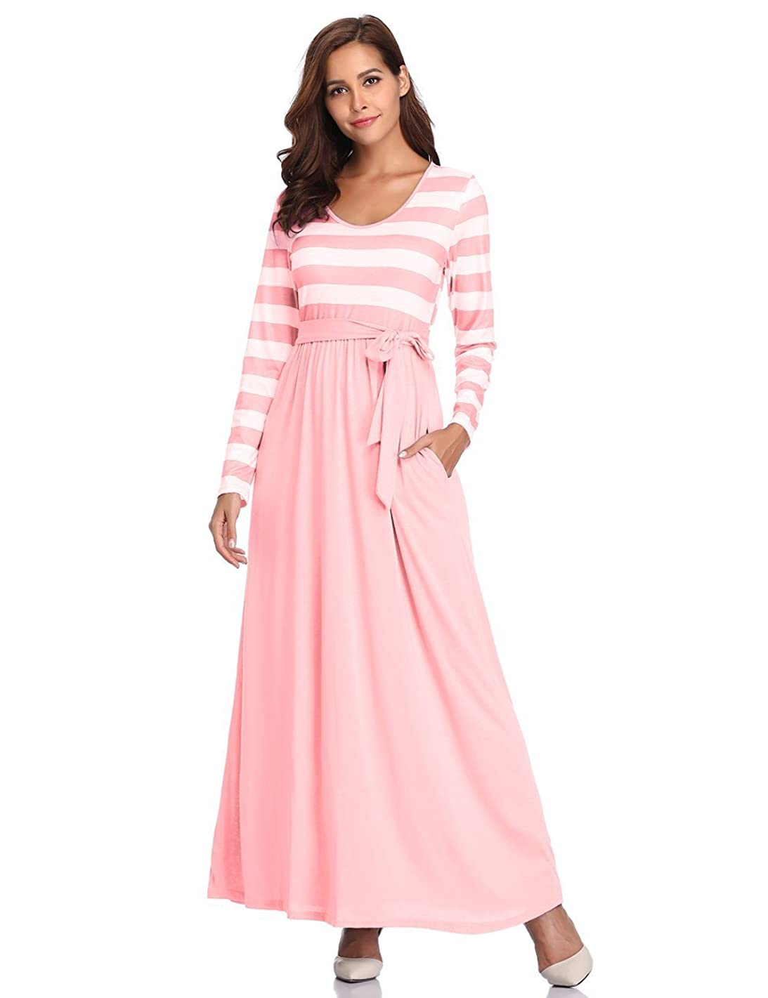 CROSS1946 Womens Casual Striped Scoop Neck Long Sleeve Tie Waist Pockets Maxi Dress