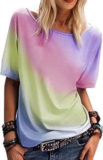 RWXXDSN Camiseta con Estampado De ArcoíRis con Cuello Redondo