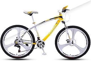 AP.DISHU 24 Speed Men and Women Mountain Bike All Terrain Trail Road Bike Full Suspension MTB Dual Disc Brake 26 Inch Wheel,Yellow