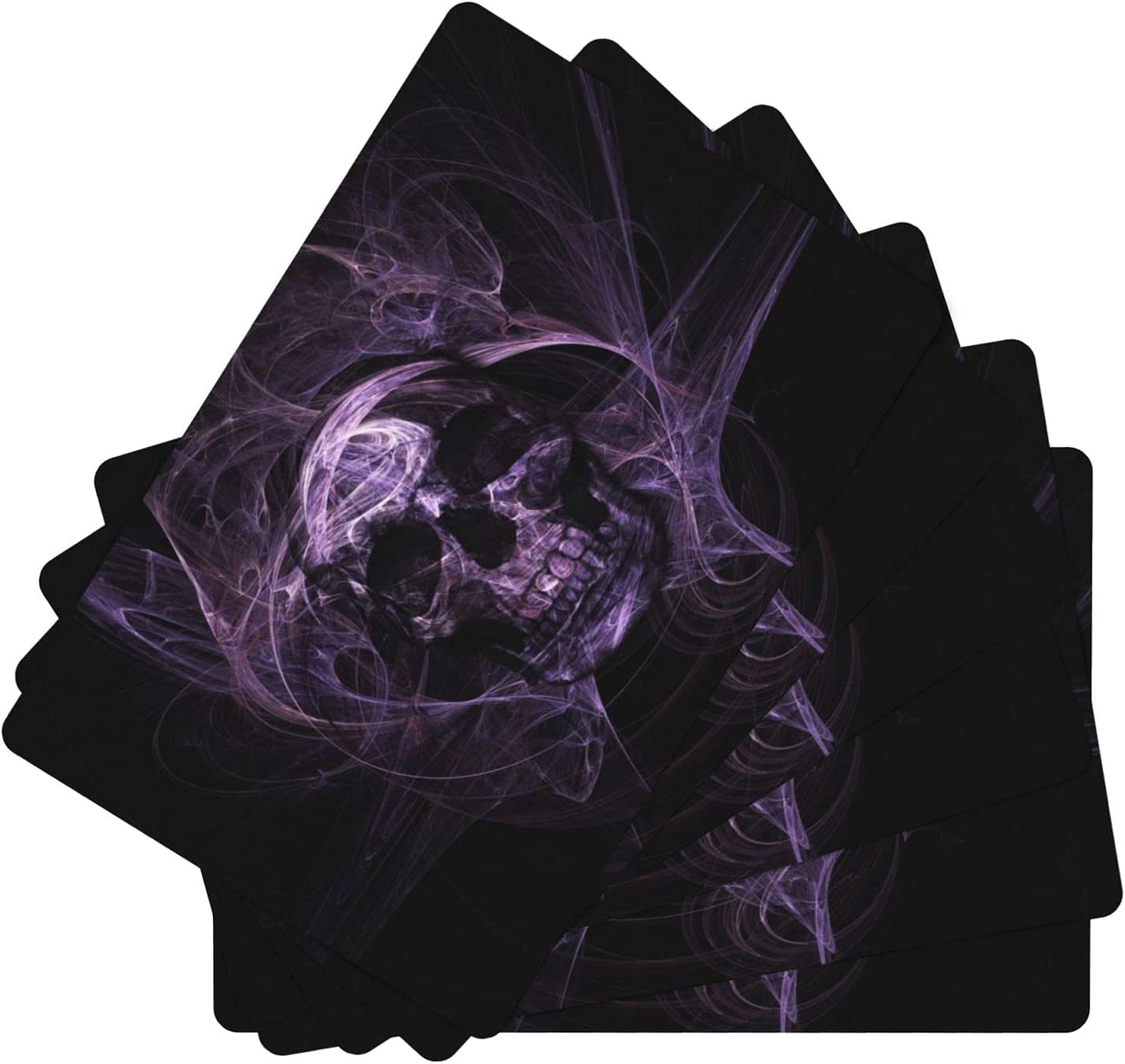 Purple Skull Leather Genuine Free Shipping Placemat Kitchen Cash special price for Durable T