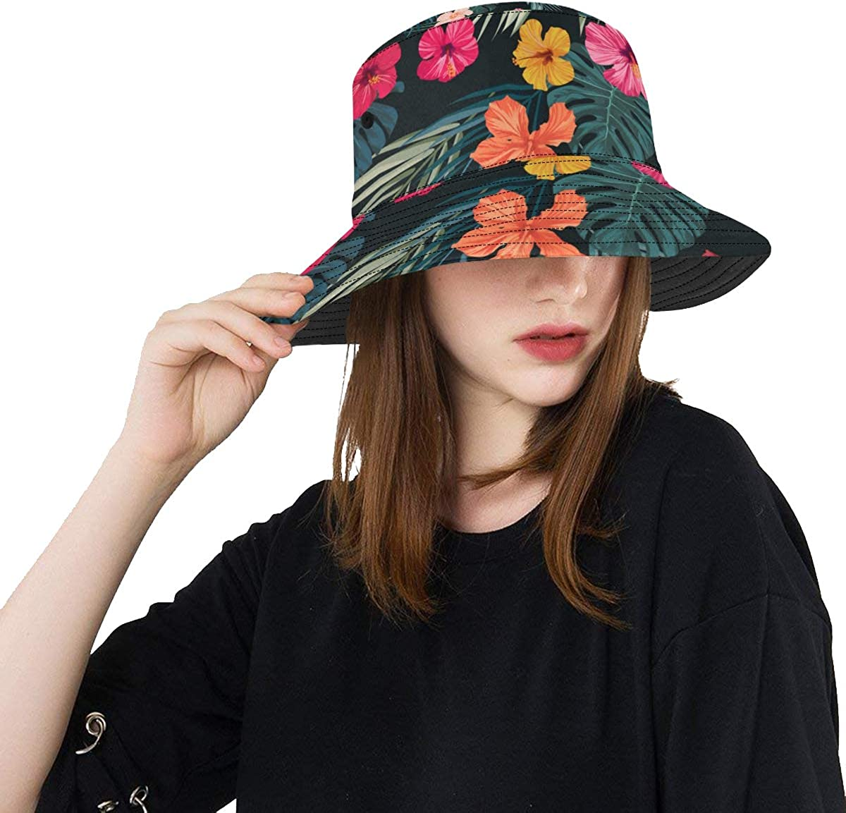 Outdoor Life Hat Tropical Rainforest Colorful Palm Trees Summer Unisex Fishing Sun Top Bucket Hats for Teens Women Fisherman Cap Outdoor Sport Fishing Hats for Boys