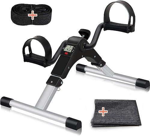 TABEKE Pedal Exerciser, Under Desk Bike Stationary Pedal Exerciser for Arm and Leg Workout, Portable Folding Sitting ...