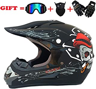 Grande Taille Vintage Motocross Face /à Face Casque Unisexe Noir 2XL Double Anneau Casque de Moto en Fibre de Verre