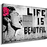 Druck auf leinwand 'Banksy' Graffiti - Bild 120x80cm k. Poster ! Bild fertig auf Keilrahmen ! Pop Art Gemälde Kunstdrucke, Wandbilder, Bilder zur Dekoration - Deko / Top 200 'Banksy' Streetart Wandbilder
