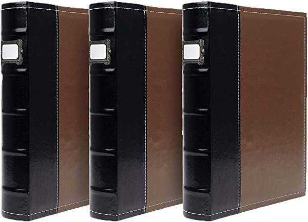 3 Ring Binder 1 Inch Rings Brown Faux Leather Presentation Binder For Business Resumes File Storage 1 Inch Binder Stores Up To 225 Sheets
