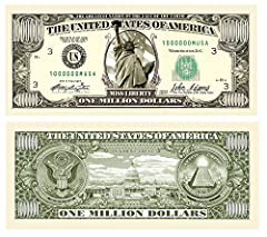 """Novelty Million Dollar bill looks and feels positively real. Put your name on a fun bill and give it to someone and they will keep it! Use to say """"Thanks a Million"""" or you are """"One in a Million"""". Real size, real color, real paper feel. Use as a tip a..."""