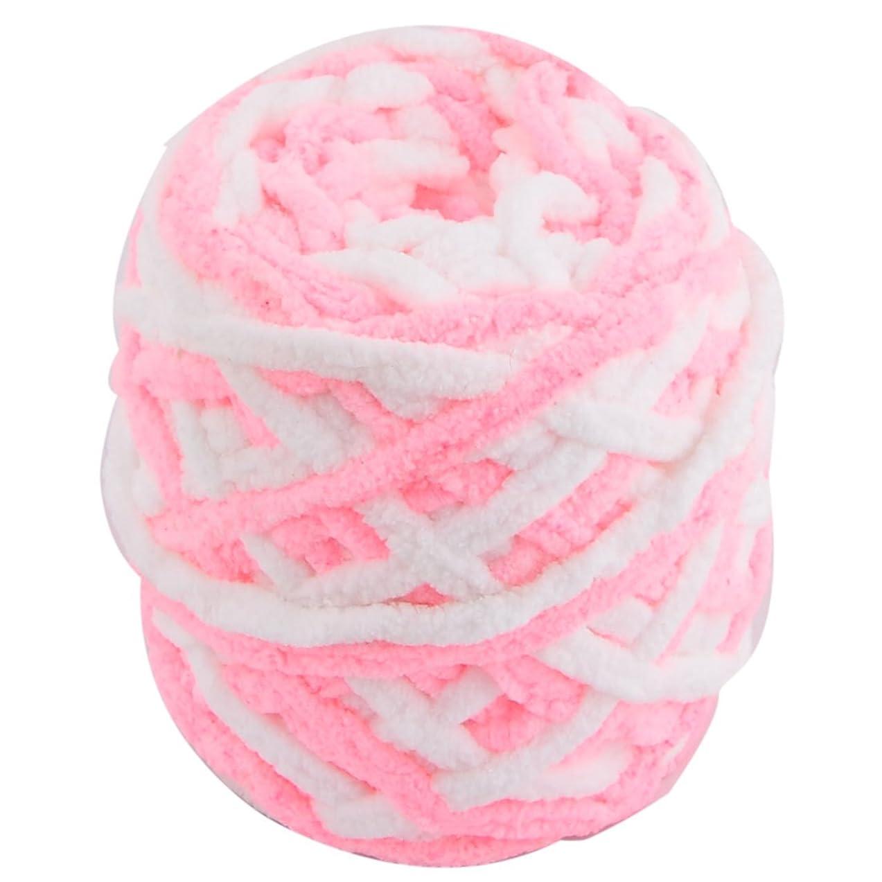 uxcell Polyester Home Festival Knitting Handicraft DIY Hat Blanket Scarf Yarn 100g White Pink