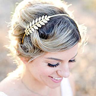 Barogirl Wedding Roman Goddess Leaf Headpiece Gold Grecian Bridal Headband Laurel Leaf Hair Crown Accessories for Brides (Gold)