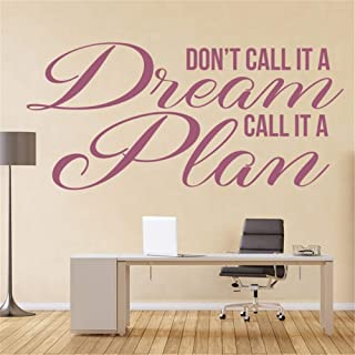 Wall Quotes Decal Wall Stickers Art Decor Inspirational Quote Don't Call it a Dream Call it a Plan for Bedroom Living Room