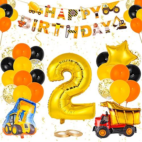 Colmanda Decoraciones para Fiestas de Construcción, Globos Temáticos de Construcción Cumpleaños 2 Globo de Excavadora, Pancarta de Cumpleaños globos de construcción para Excavador Decoracion Fiesta