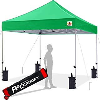 ABCCANOPY 10x10 Canopy Tent Pop up Canopy Outdoor Canopy Commercial Instant Shelter with Wheeled Carry Bag, Bonus 4 Canopy Sand Bags, Kelly Green