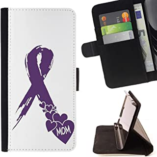 FJCases Purple Ribbon Cancer Lupus Slim Wallet Card Holder Flip Leather Case Cover for Samsung Galaxy S9+ (S9 Plus)
