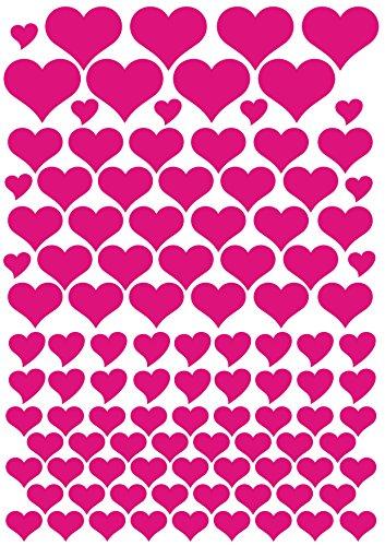 das-label 106 Herzen pink | Outdoor glänzend selbstklebend | Valentinstag | Muttertag | Scrapbook | Geburtstag | Geschenke | zum bekleben von Autos | Tüten | Geschenkkartons