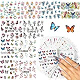 LABOTA 48 Feuilles Papillon Nail Art Stickers, Autocollants à Ongles decoration nail art Ongle Autocollants Auto-adhésives DIY Nail Décoration pour Femmes Filles