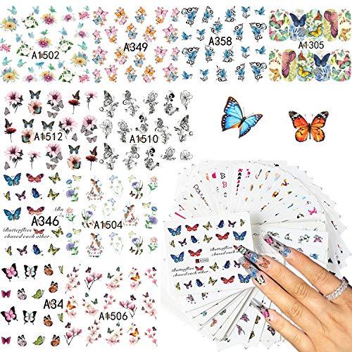 LABOTA 48 Blätter Schmetterling Nail Art Wassertransfer Aufkleber Abziehbilder, Schmetterling Nagelsticker Selbstklebend Nagelaufkleber für Frauen Fingernägel Zehennägel Dekor Maniküre