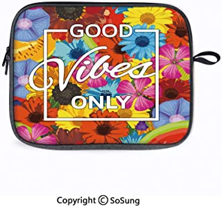 13inch Laptop Sleeve Case,Dandelion Cornflower Daisy Blooms in The Meadow Field Before Sunset Spring Landscape Laptop Briefcase Compatible with 2018 MacBook Air 13 A1932/Surface Pro 6 5