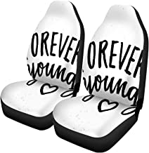 Pinbeam Car Seat Covers Forever Young Lettering Summer Brush Modern Ink for Save Set of 2 Auto Accessories Protectors Car Decor Universal Fit for Car Truck SUV