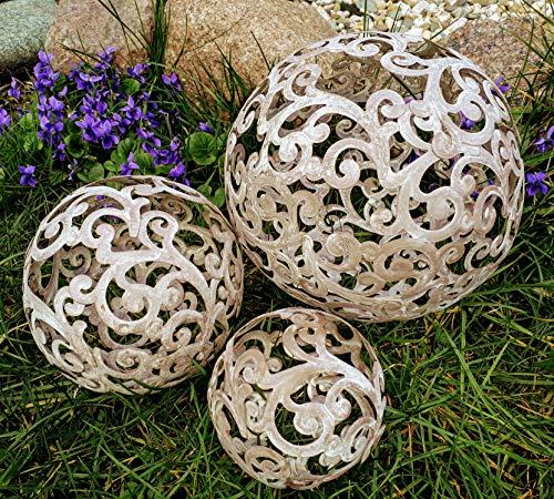 3er Set Dekokugeln Blumen Ranke 20+15+10 cm Gartenkugeln Kugel Dekokugel Gartenkugel