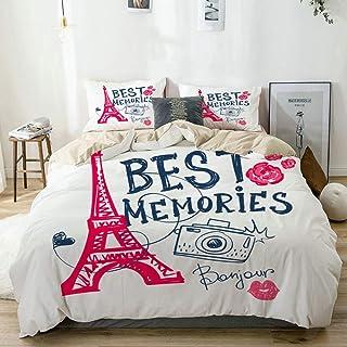 Kanaite Juego de Funda nórdica Beige Torre Eiffel Cámara fotográfica Beso Labios Rosas y Texto Best Memories Juego de Cama Decorativo de 3 Piezas con 2 Fundas de Almohada